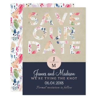 Le rose et la marine de courses de brosse sauvent carton d'invitation  11,43 cm x 15,87 cm