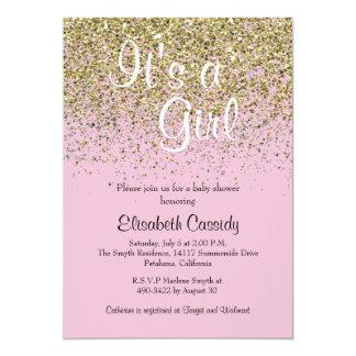 Le rose et le scintillement d'or arrosent carton d'invitation  12,7 cm x 17,78 cm