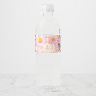 Le rose fleurit le ressort nuptiale de mariage étiquette pour bouteilles d'eau