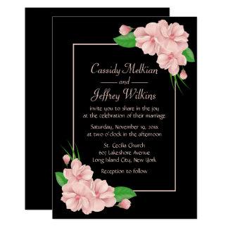 Le rose floral fleurit le mariage noir carton d'invitation  12,7 cm x 17,78 cm
