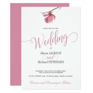Le rose floral rougissent et le manuscrit moderne carton d'invitation  12,7 cm x 17,78 cm