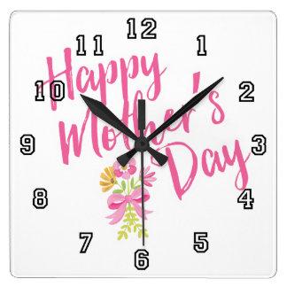 Le rose heureux du jour de mère fleurit le cadeau horloge carrée