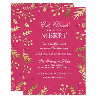 Le rose mangent, boisson et soient joyeuse fête de carton d'invitation  12,7 cm x 17,78 cm