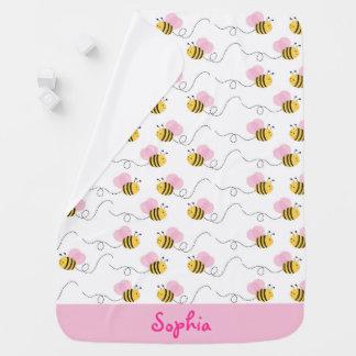 Le rose mignon gaffent l'abeille couvertures pour bébé