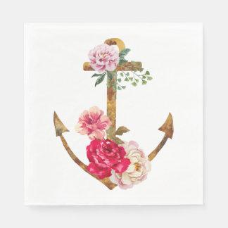 Le rose nautique d'ancre de bateau fleurit la serviettes en papier