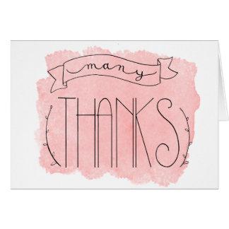 Le rose parfait beaucoup de mercis vous remercie carte de vœux