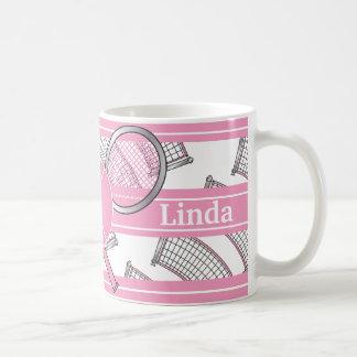 Le rose personnalisent le tennis mug blanc