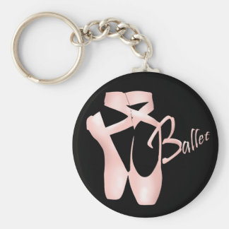 Le rose Pointe de ballerine de ballet chausse de Porte-clé Rond