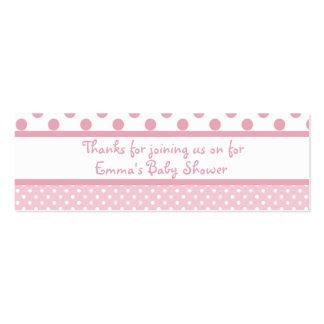 Le rose pointille l'étiquette de faveur de baby sh cartes de visite professionnelles