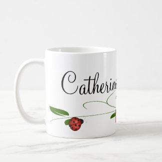 Le rose rouge et le café de coccinelles/thé mug blanc