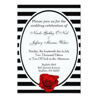 Le rose rouge noir et le blanc barre le faire-part