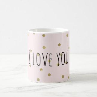Le rose rougissent des confettis d'étincelle d'or mug