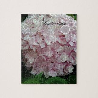 Le rose rougissent fleur d'hortensia puzzle