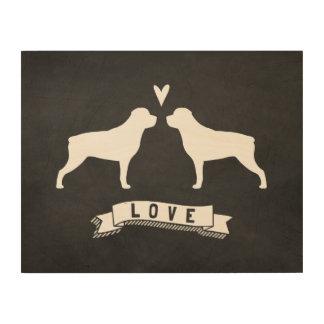 Le rottweiler silhouette l'amour impression sur bois