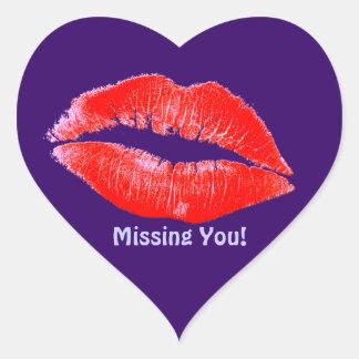 Le rouge à lèvres d'amusement embrasse Mlle You Autocollants En Cœur