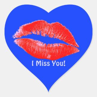 Le rouge à lèvres d'amusement embrasse Mlle You Sticker Cœur
