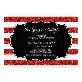 Le rouge barre l'invitation de partie de réveillon carton d'invitation  12,7 cm x 17,78 cm