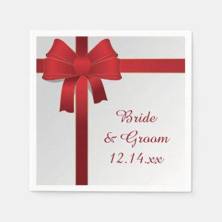 Le rouge cintre le mariage d'hiver serviettes jetables