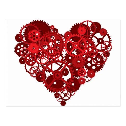 Le rouge embraye le coeur cartes postales