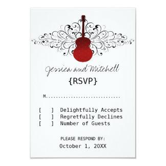 Le rouge tourbillonne carte de réponse de guitare carton d'invitation 8,89 cm x 12,70 cm