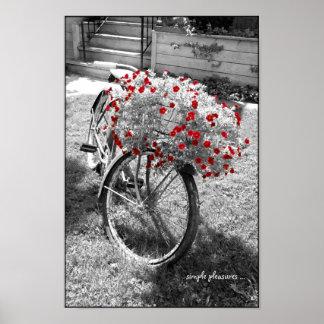 Le rouge vintage noir et blanc de bicyclette posters