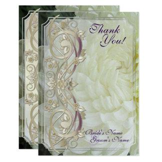 Le rouleau de perle et le chrysanthème blanc les carton d'invitation 8,89 cm x 12,70 cm