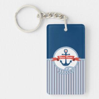 Le ruban nautique de corde d'ancre barre le bleu porte-clé rectangulaire en acrylique double face