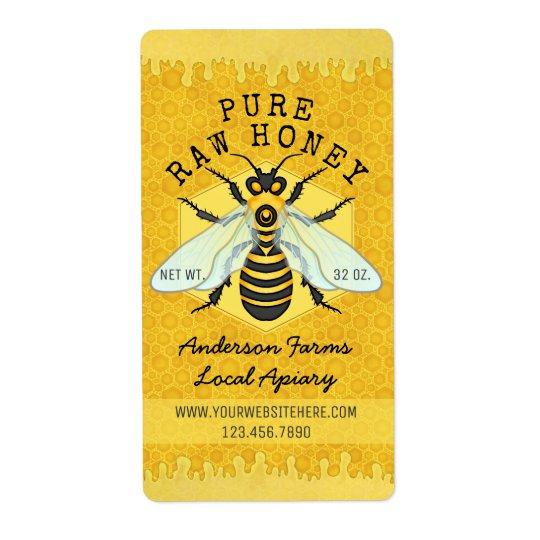 Le rucher de pot de miel d'abeille marque étiquette d'expédition