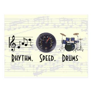 Le rythme, vitesse, bat du tambour de la carte carte postale