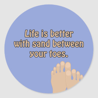 Le sable de plage botte l'autocollant avec la sticker rond