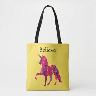 Le sac fourre-tout jaune avec la licorne colorée