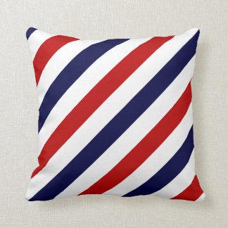 Le salon de coiffure barre le bleu blanc rouge de coussin