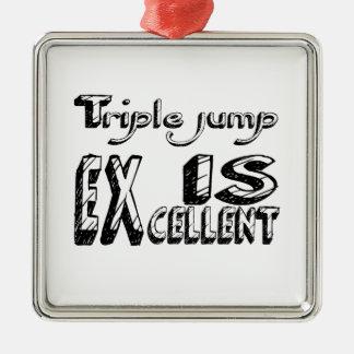 Le saut triple est excellent ornement carré argenté