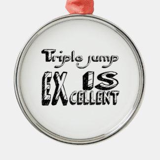 Le saut triple est excellent ornement rond argenté