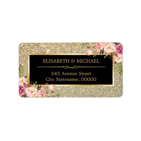 Le scintillement à la mode d'or miroite floral étiquettes d'adresse