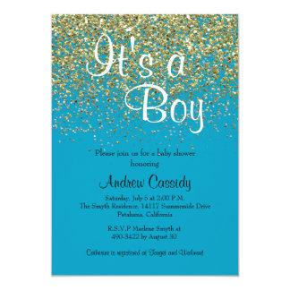 Le scintillement de bleu et d'or arrosent carton d'invitation  12,7 cm x 17,78 cm