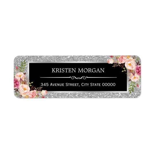 Le scintillement de gris argenté miroite floral étiquette d'adresse retour