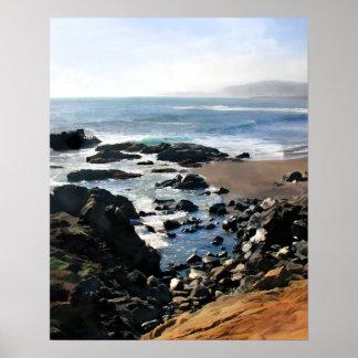 Le scintillement de roches comme marée entre dans