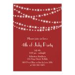 Le scintillement de rouge 4 juillet allume carton d'invitation  12,7 cm x 17,78 cm