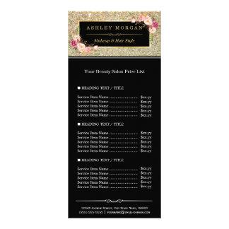 Le scintillement d'or de salon de beauté fleurit carte publicitaire