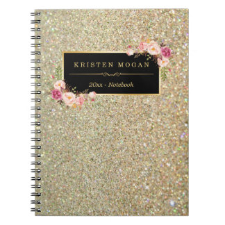 Le scintillement moderne d'or miroite floral Girly Carnets