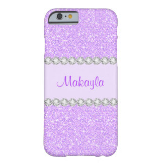 Le scintillement pourpre en pastel Girly miroite Coque iPhone 6 Barely There