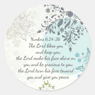 Le seigneur Bless You, vers de bible de 6h24 de Sticker Rond