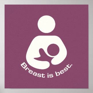 Le sein est la meilleure icône - mauve posters