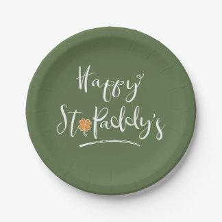 Le shamrock orange ID336 du paddy heureux de St Assiettes En Papier