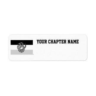 Le sigma NU marquent le gris Étiquette D'adresse Retour