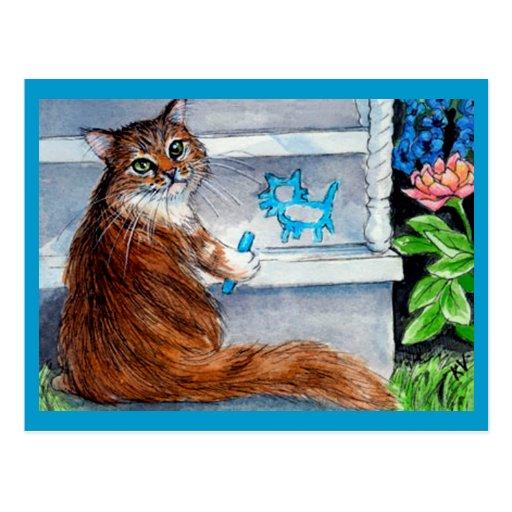 Le signe de clochard de chat, dame aimable vit ici cartes postales