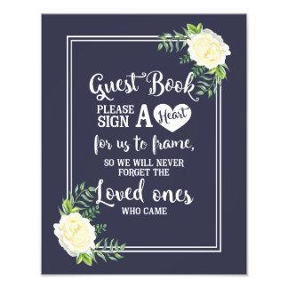 le signe de mariage, signent svp un coeur, floral impression photo