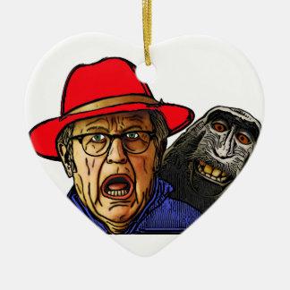 Le singe de babouin effraye le vieil homme anglais ornement cœur en céramique