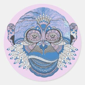 Le singe décoré sticker rond